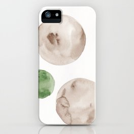 8|181104 Australian Leaf Green & Brown Earth Orbs | Watercolour Circle Abstract Geometrical iPhone Case