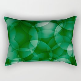 Dark intersecting green translucent circles in bright colors with a grassy glow. Rectangular Pillow