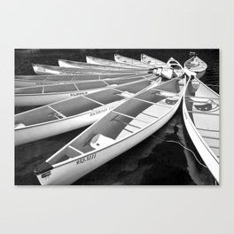 Tethered Canoes at Lost Lake in Whistler British Columbia Canvas Print