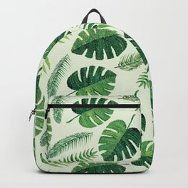Monstera and palm leaves, green Backpack