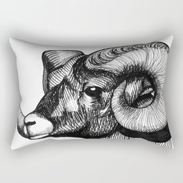 Hand Drawn Black and White Bighorn Sheep Portrait Rectangular Pillow