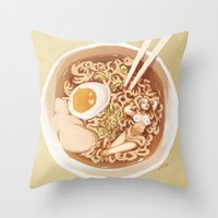 ramen Throw Pillows featuring Ramen Noodles by Kristy Carroll