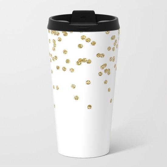 Sparkling golden glitter confetti - Luxury design #Society6 Metal Travel Mug