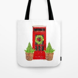 Red Christmas Door with Boxwood Wreath Tote Bag
