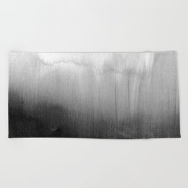 Modern Black and White Watercolor Gradient Beach Towel