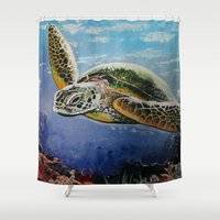 sea turtle Shower Curtains featuring Sea Turtle by Adamzworld