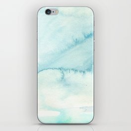 Abstract hand painted blue teal watercolor paint pattern iPhone Skin