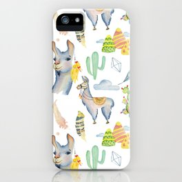 Cute hand painted blue pink yellow watercolor tropical llamas iPhone Case