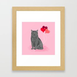 Cat breed grey cats valentines day heart balloons kitty cat gifts Framed Art Print