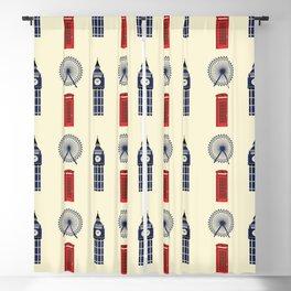 London Big Ben,Red British phone box Blackout Curtain