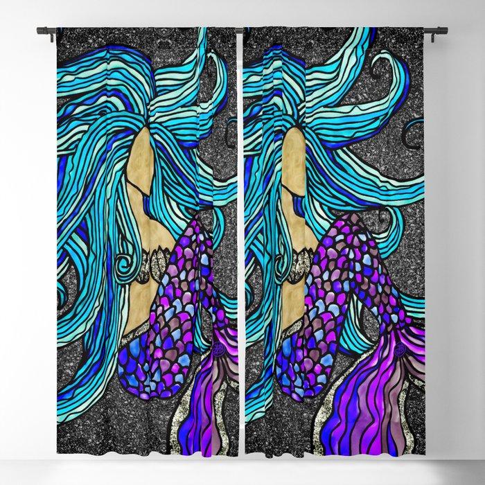 Original Blue Hair Mermaid Blackout Curtain