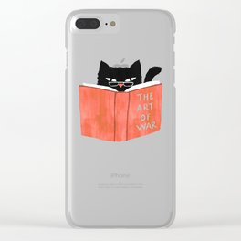 Cat reading book Clear iPhone Case