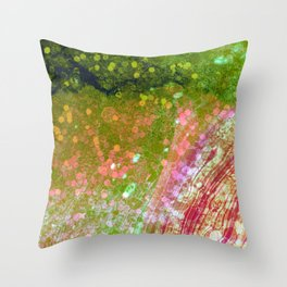 Sleeping Mermaid - Coral Emerald Color Throw Pillow