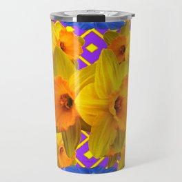 Blue Floral Fuchsia-Pink  Gold Daffodils Pattern Design Travel Mug