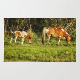 Following Mom - Chincoteague Pinto Foal No. 3 Rug