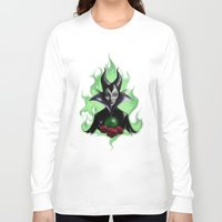 maleficent Long Sleeve T-shirts featuring Maleficent by Yellow Raven Ink