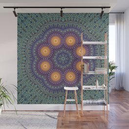 8 Suns Circular Bohemian Geometric Thread Weave Pattern \\ Yellow Green Blue Purple Color Scheme Wall Mural