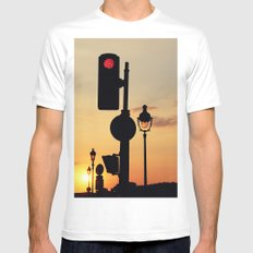 Stop and look at the sunset White Mens Fitted Tee MEDIUM