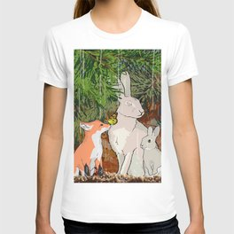 The red fox, the baby fox, the Hare and the baby hare T-shirt