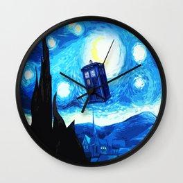 Starry Night Blue Phone Box Wall Clock