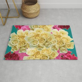DECORATIVE TEAL & FUCHSIA PINK WHITE RED ROSES Rug