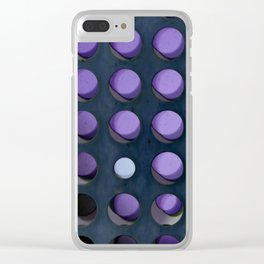 An abstract array of dots in purple and blue with shadows and gradients Clear iPhone Case