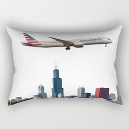 American Airlines Boeing 787 over Chicago Art Rectangular Pillow