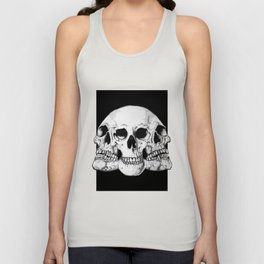 Threesome Skull - Black version Unisex Tank Top