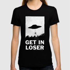 Get In Loser Womens Fitted Tee MEDIUM Black