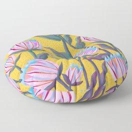 Bold Protea Flower Pattern - Pink Blue Green Purple Yellow Floor Pillow