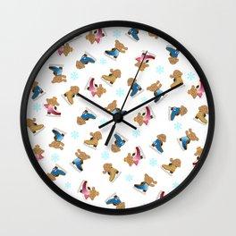 makkachin yuri on ice skate pattern Wall Clock