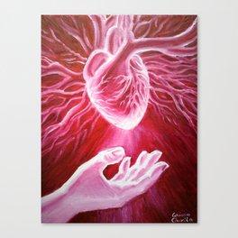 Giving a heart Canvas Print