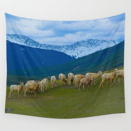 Female Mountain Goats on Old Fort Point in Jasper National Park, Canada Wall Tapestry