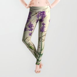Lavender Antique Rustic Flowers Vintage Art Leggings