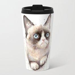 Grumpy Watercolor Cat Animals Meme Geek Art Travel Mug
