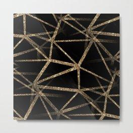 Black and Gold Geometric Design Metal Print