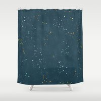 constellations Shower Curtains featuring Constellations by Little Holly Berry