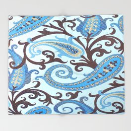 Classic Paisley in Blue Throw Blanket
