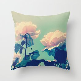 Soft Baby Pink Roses with Mint Blue Sky Backgroud Throw Pillow