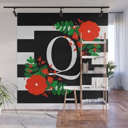 Q - Monogram Black and White with Red Flowers Wall Mural