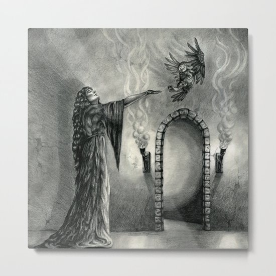 The Owl and the Witch Metal Print