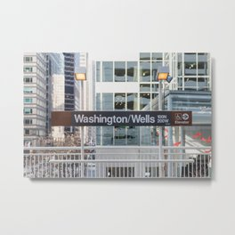 Washington & Wells - Chicago El Photography Metal Print