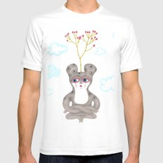 lonely cute creature with rose bush White Mens Fitted Tee MEDIUM