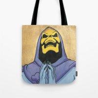 skeletor Tote Bags featuring Saint Skeletor by Ghirigori Lab