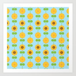Kawaii Sunflowers Art Print
