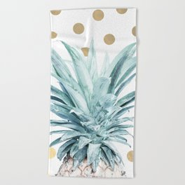 Pineapple crown - gold confetti Beach Towel