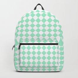 White and Magic Mint Green Diamonds Backpack