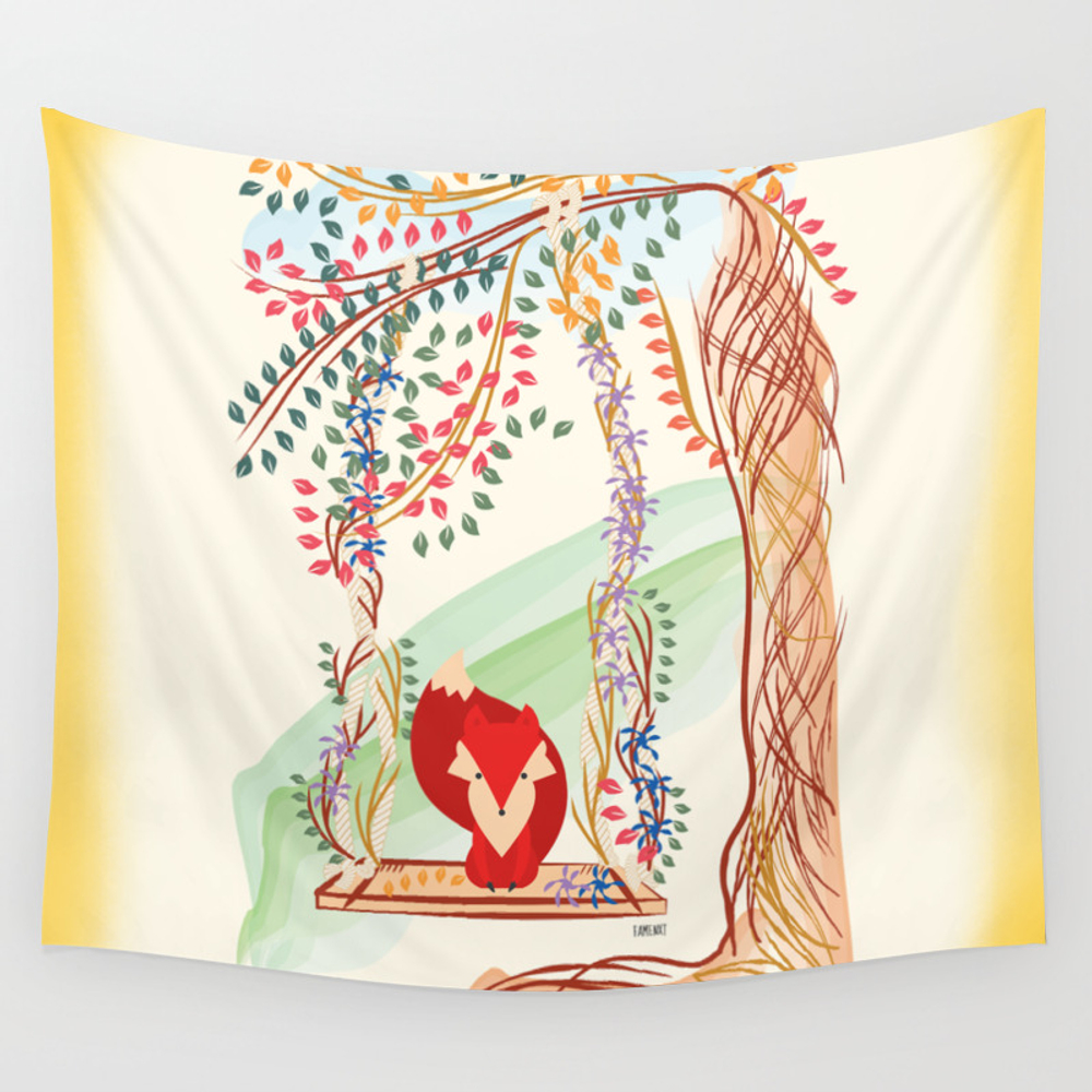 Vibrant Jungle Fox Wall Tapestry by Famenxt TPS2469067
