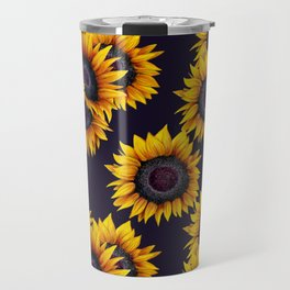 Sunflowers yellow navy blue elegant colorful pattern Travel Mug