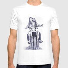 Biker Babes Mens Fitted Tee White MEDIUM